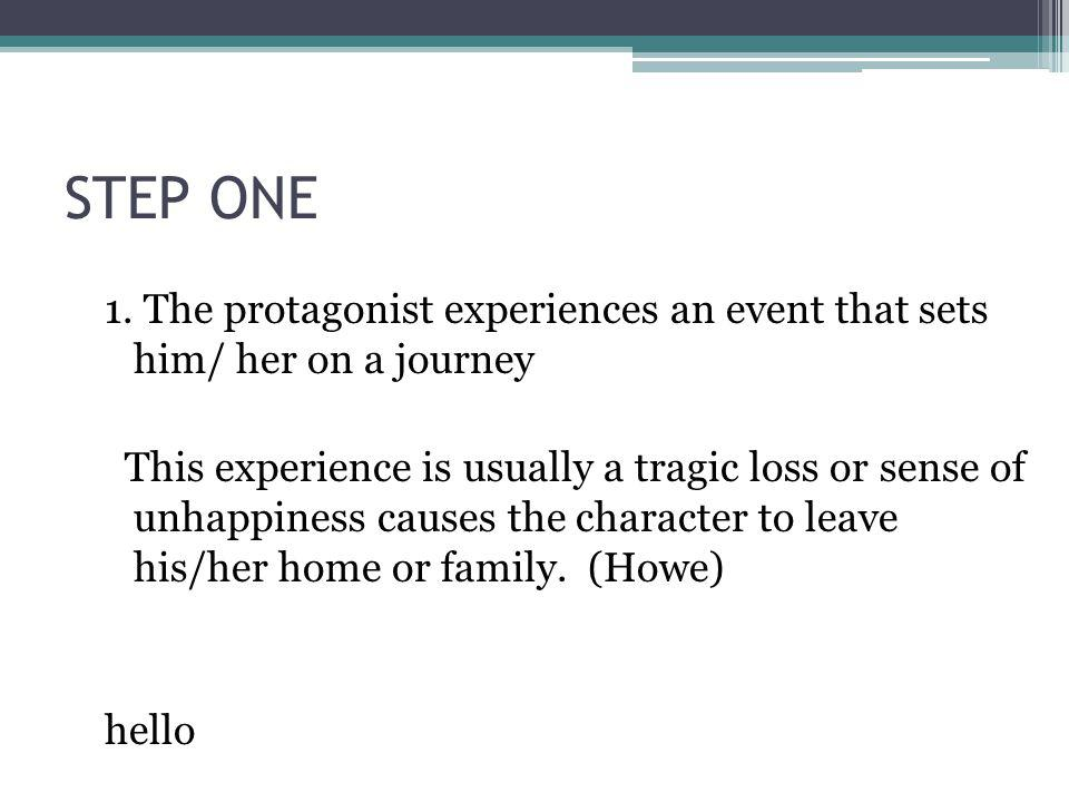 STEP ONE 1. The protagonist experiences an event that sets him/ her on a journey.
