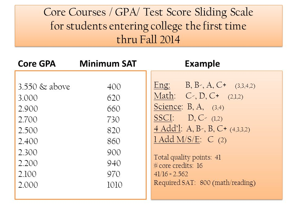 Core Courses / GPA/ Test Score Sliding Scale for students entering college the first time thru Fall 2014