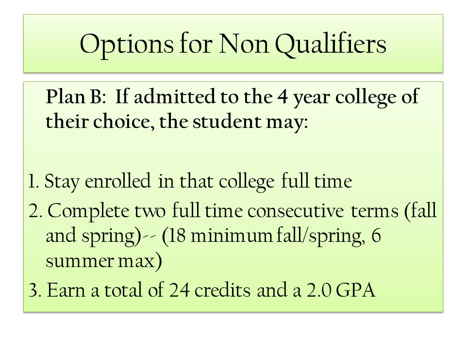 Options for Non Qualifiers