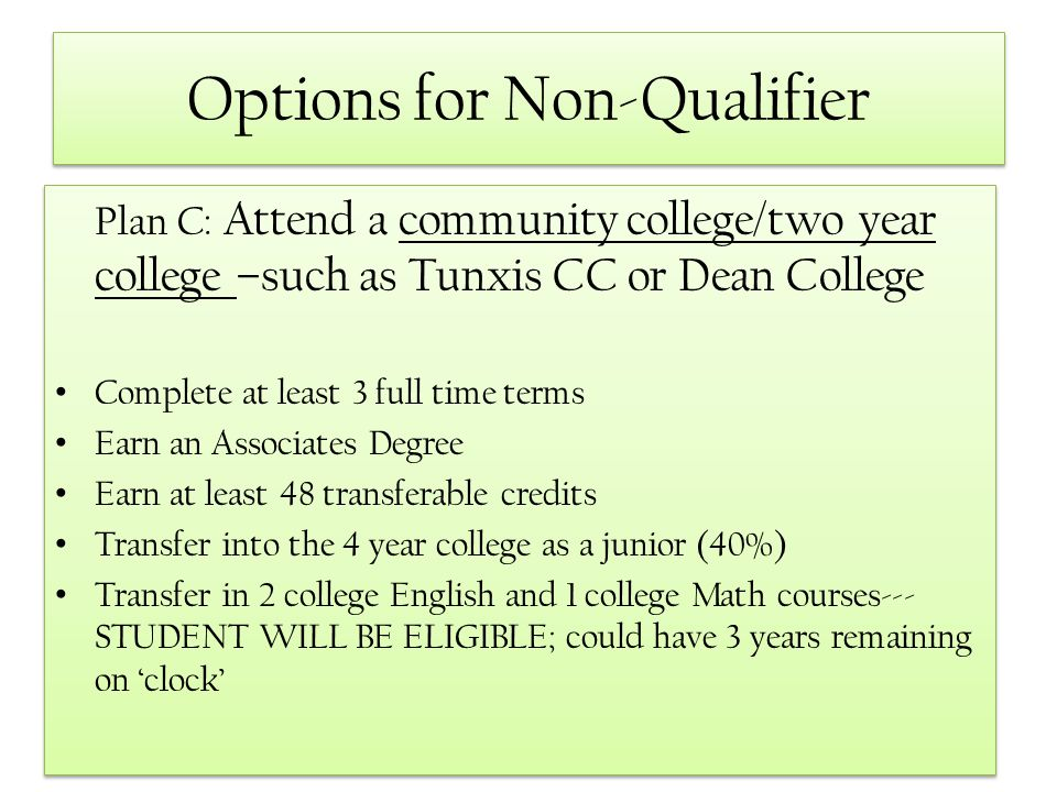 Options for Non-Qualifier