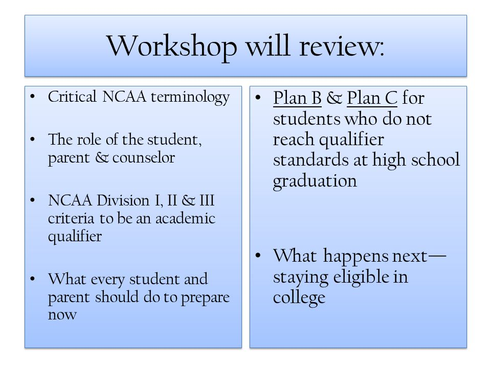 Workshop will review: Critical NCAA terminology. The role of the student, parent & counselor.