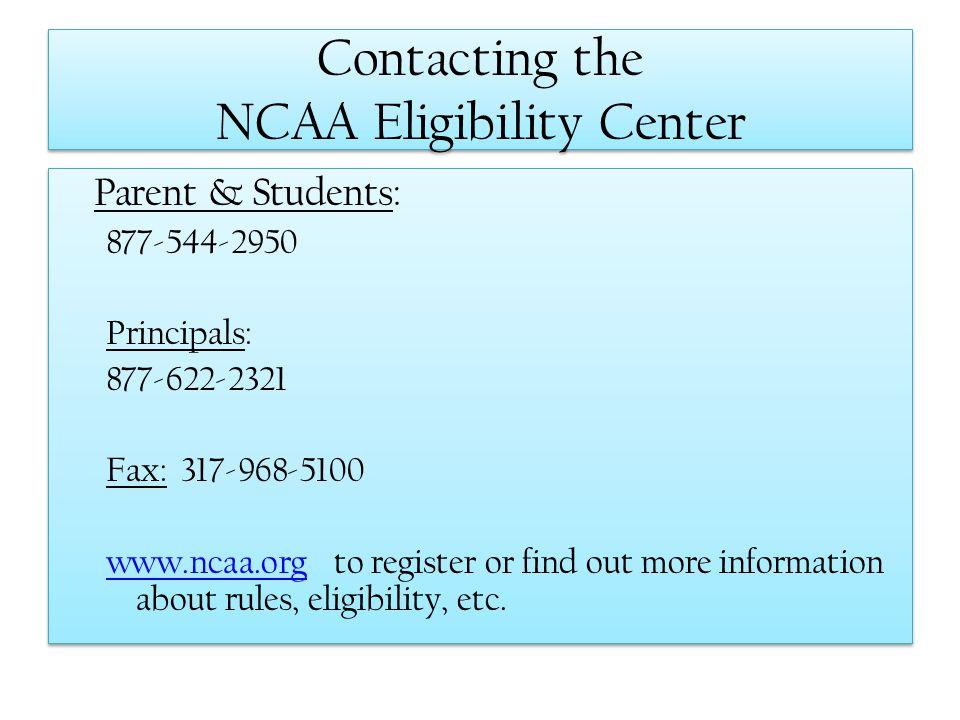 Contacting the NCAA Eligibility Center