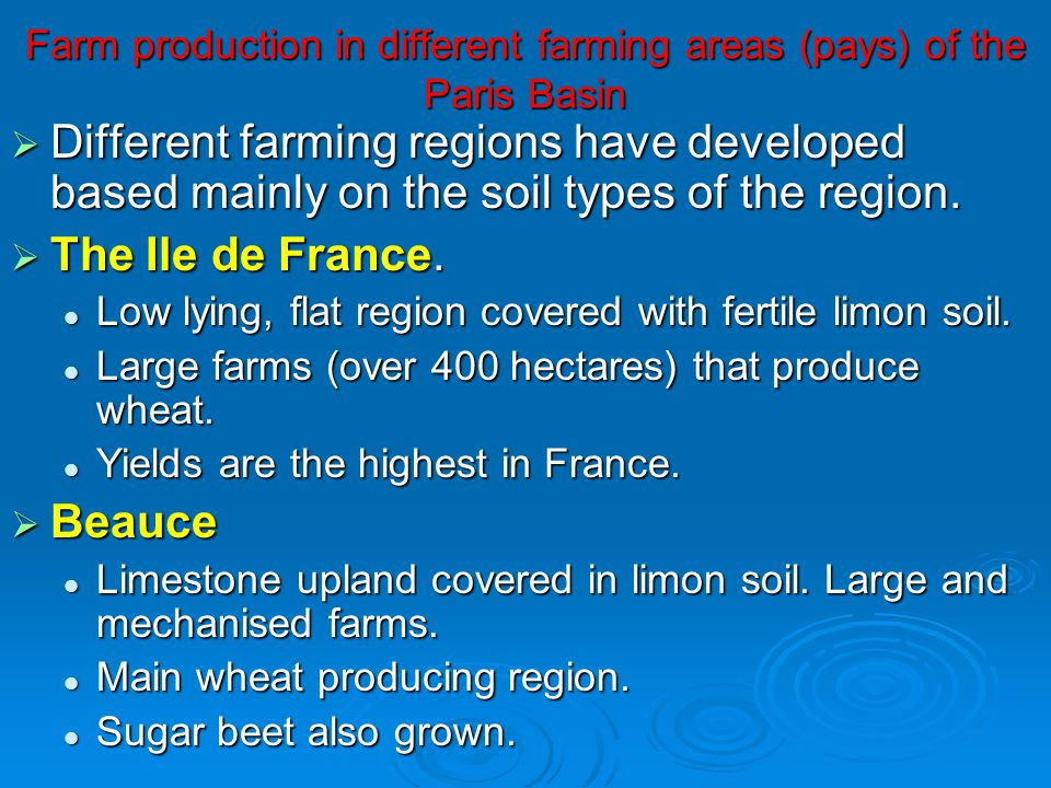 Farm production in different farming areas (pays) of the Paris Basin