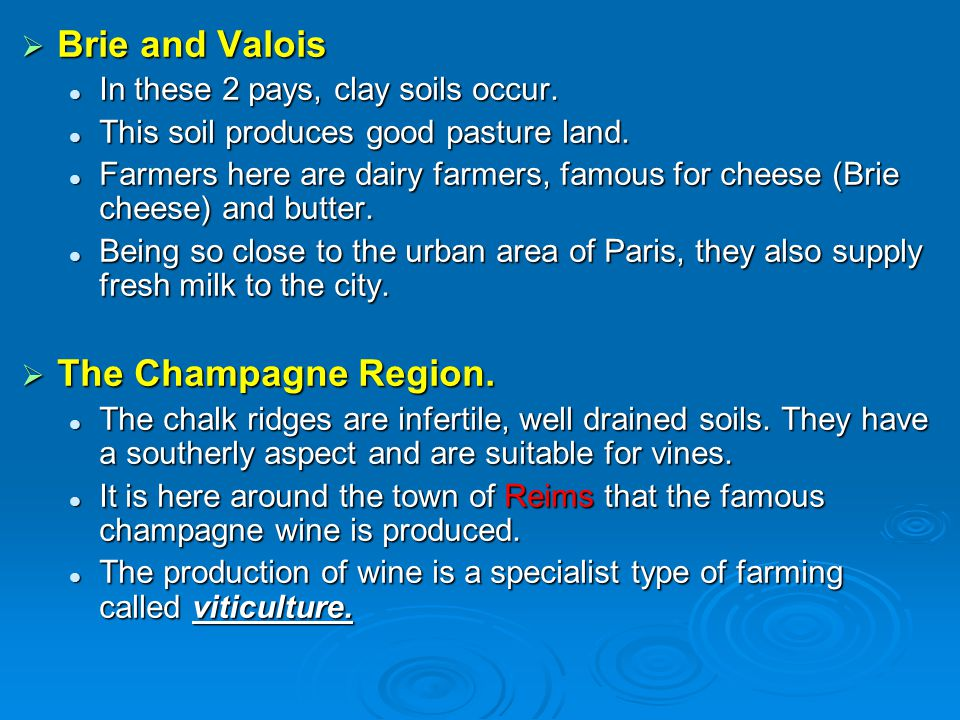 Brie and Valois The Champagne Region.