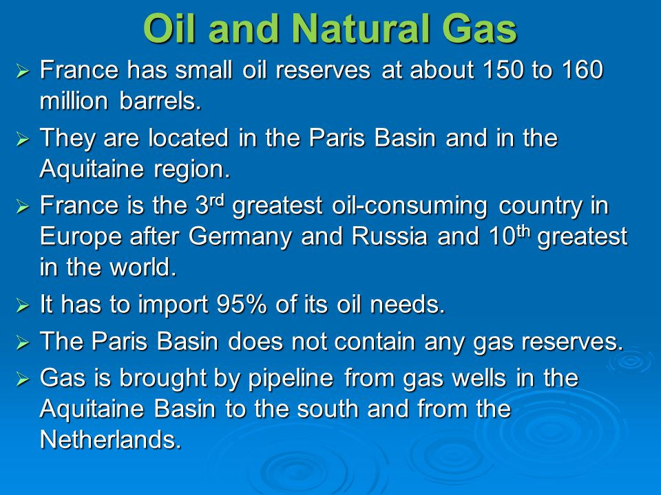 Oil and Natural Gas France has small oil reserves at about 150 to 160 million barrels.