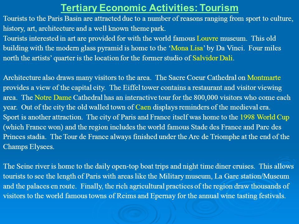 Tertiary Economic Activities: Tourism