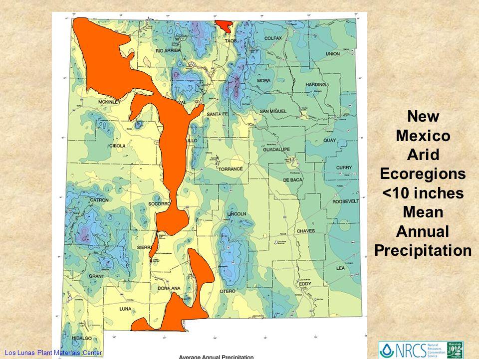 New Mexico Arid Ecoregions <10 inches Mean Annual Precipitation