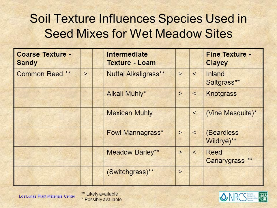 Soil Texture Influences Species Used in Seed Mixes for Wet Meadow Sites