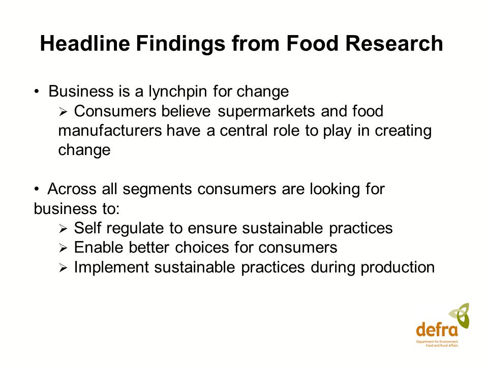 Headline Findings from Food Research