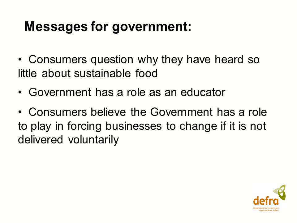 Messages for government: