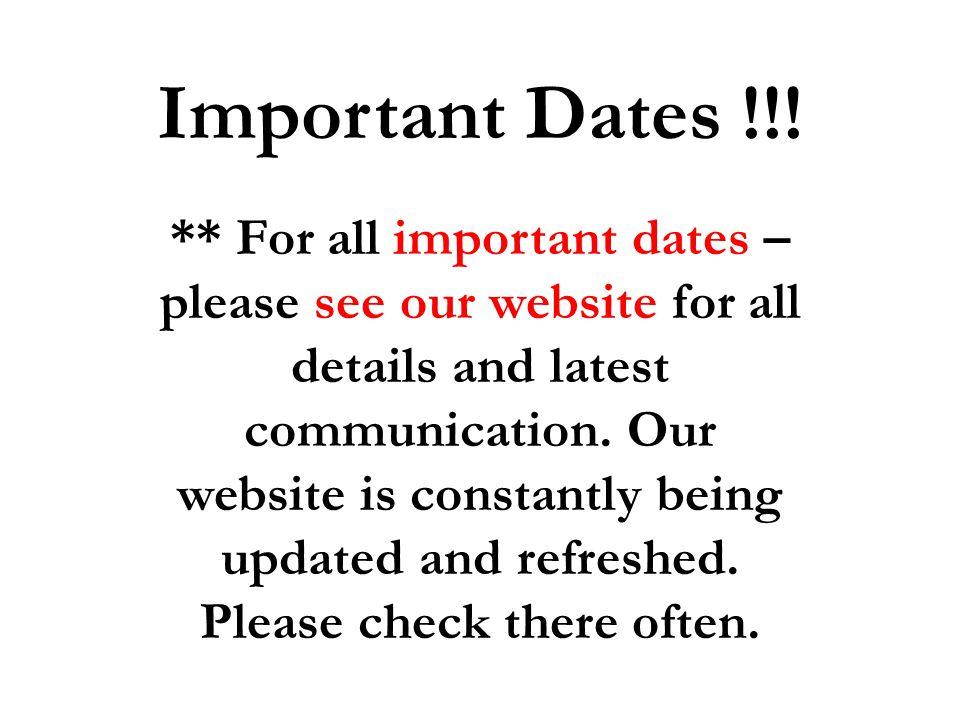 Important Dates !!!