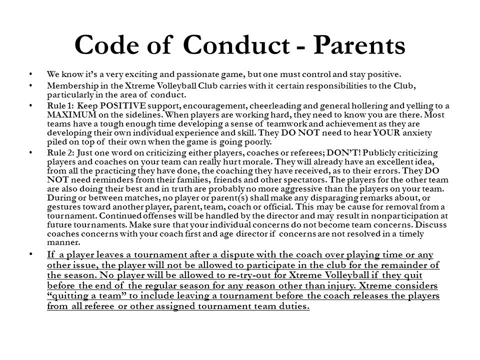 Code of Conduct - Parents