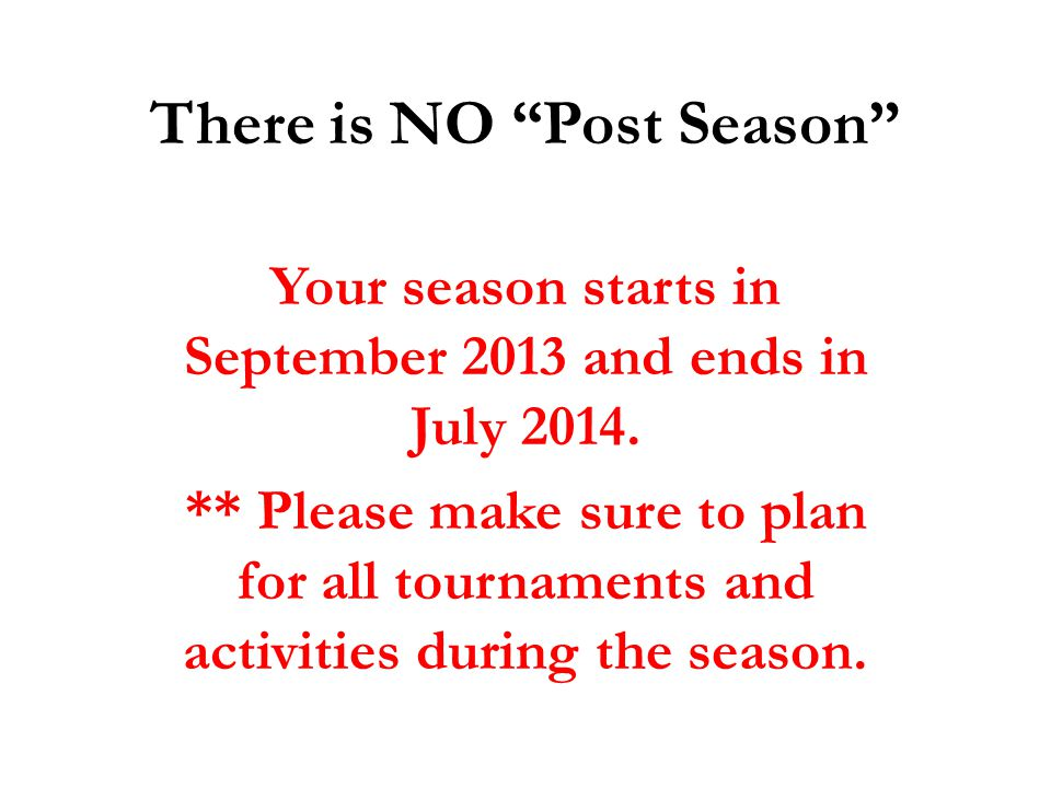 There is NO Post Season
