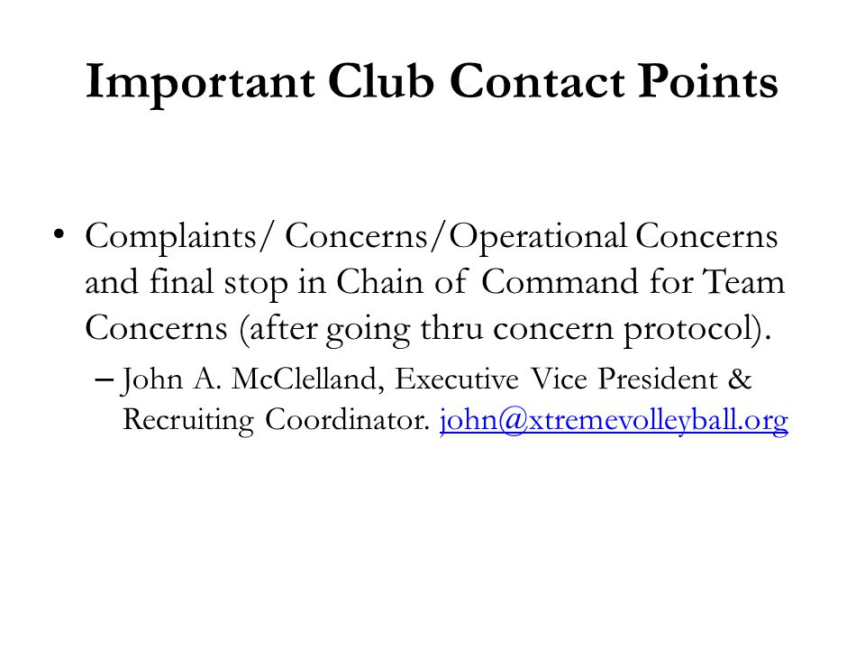 Important Club Contact Points
