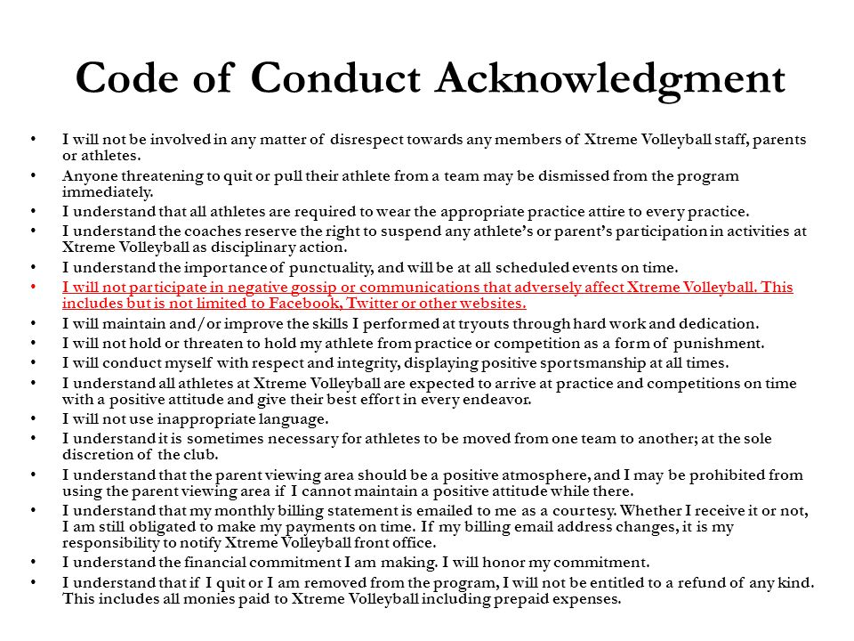 Code of Conduct Acknowledgment