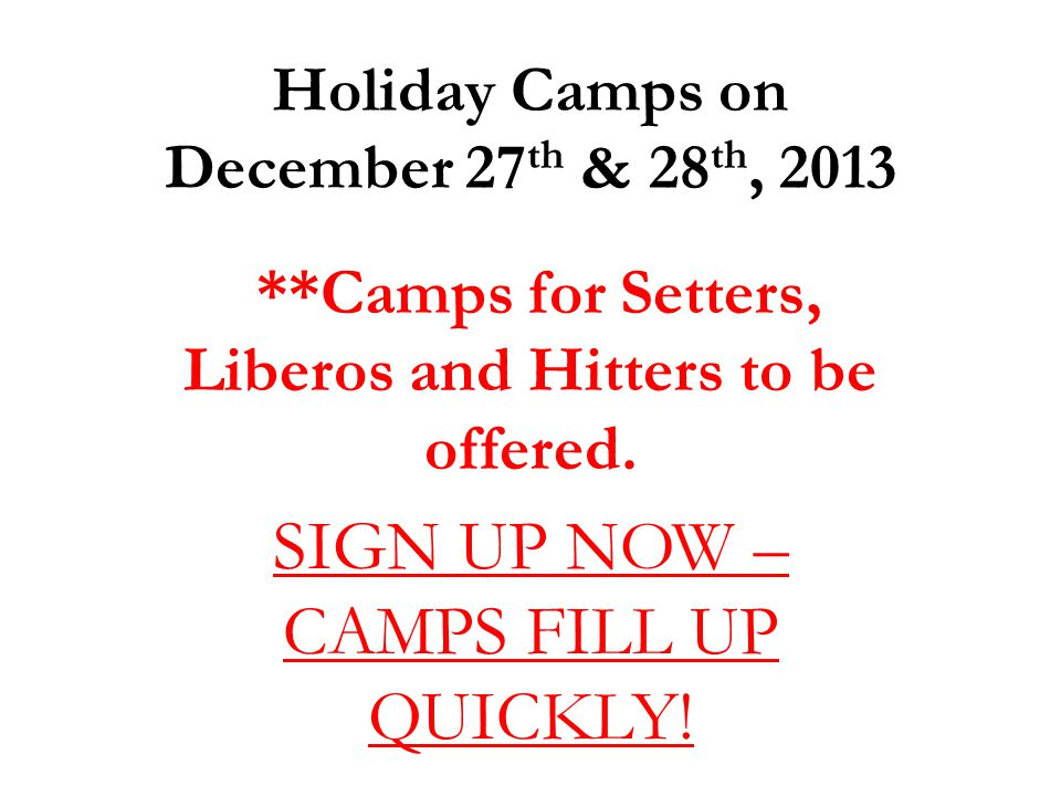 Holiday Camps on December 27th & 28th, 2013