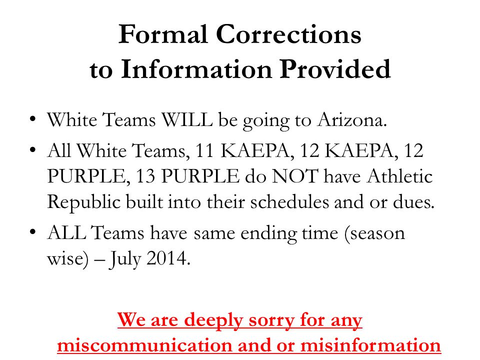 Formal Corrections to Information Provided