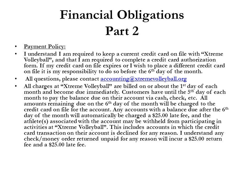 Financial Obligations Part 2