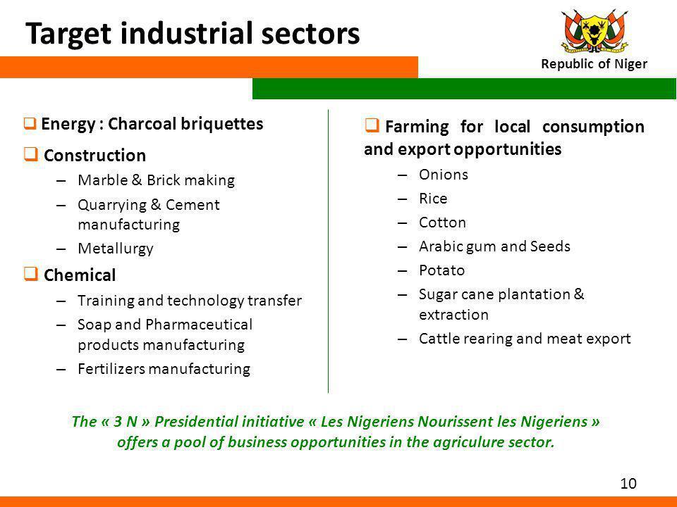 Target industrial sectors