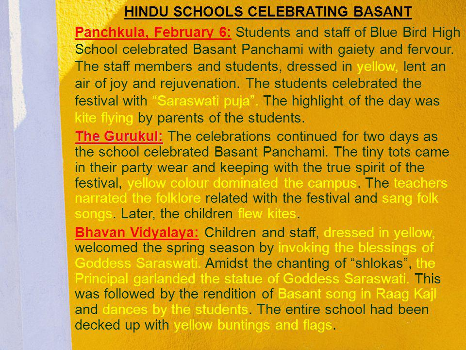 HINDU SCHOOLS CELEBRATING BASANT