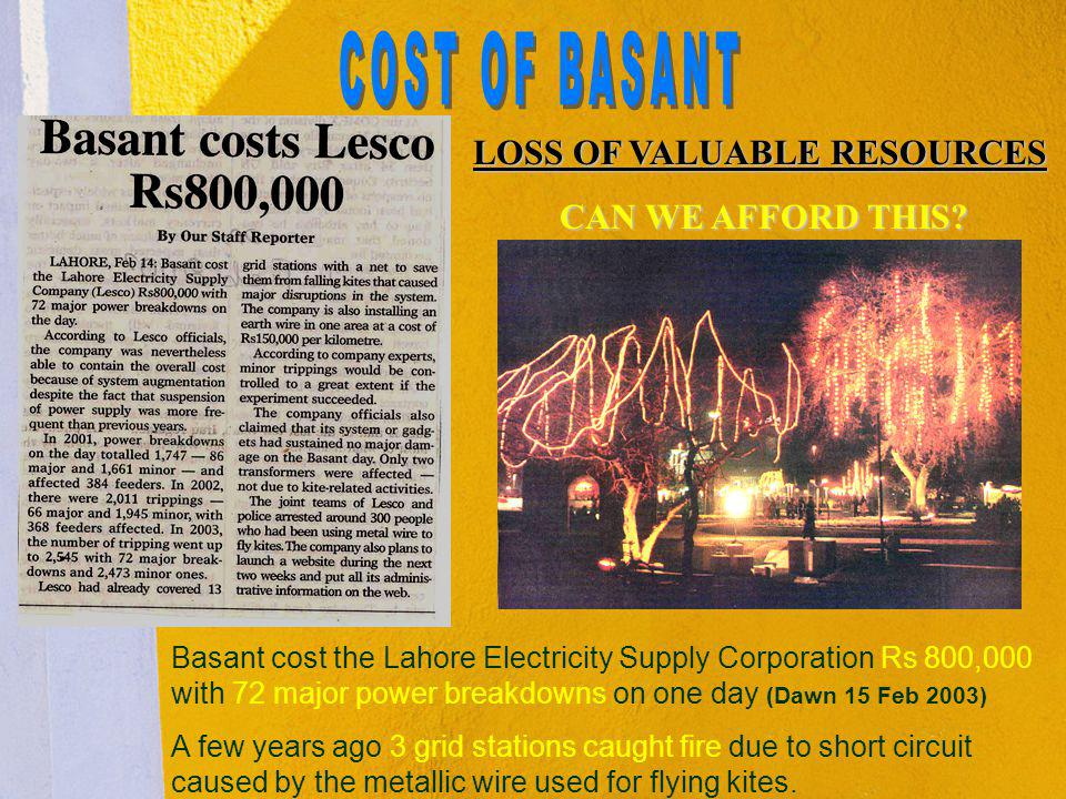 COST OF BASANT LOSS OF VALUABLE RESOURCES CAN WE AFFORD THIS