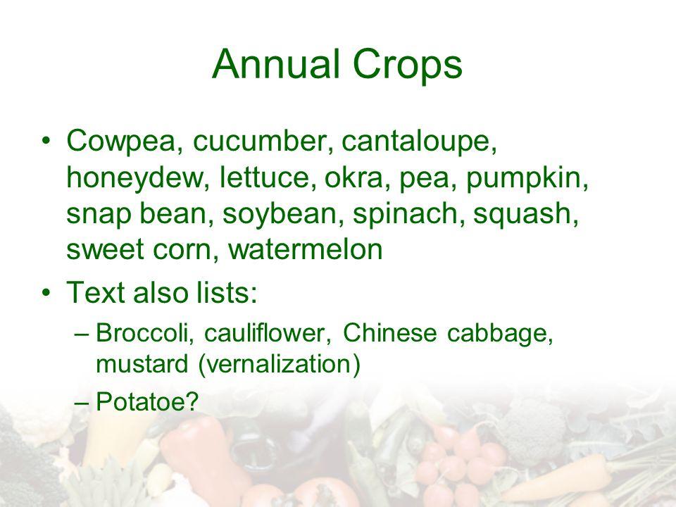 Annual Crops Cowpea, cucumber, cantaloupe, honeydew, lettuce, okra, pea, pumpkin, snap bean, soybean, spinach, squash, sweet corn, watermelon.