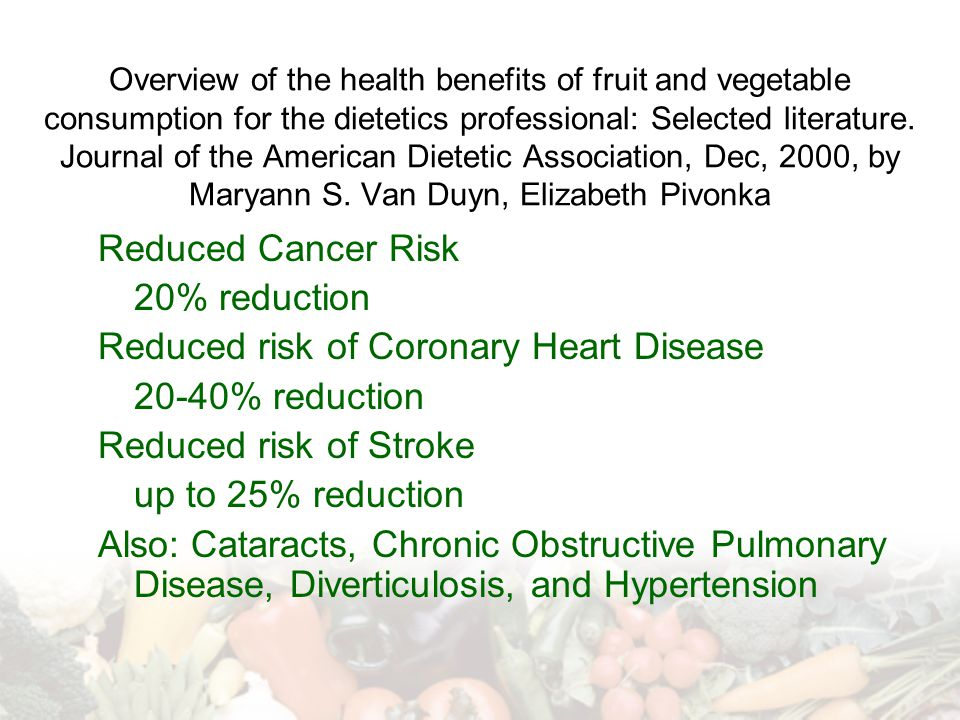 Reduced risk of Coronary Heart Disease 20-40% reduction