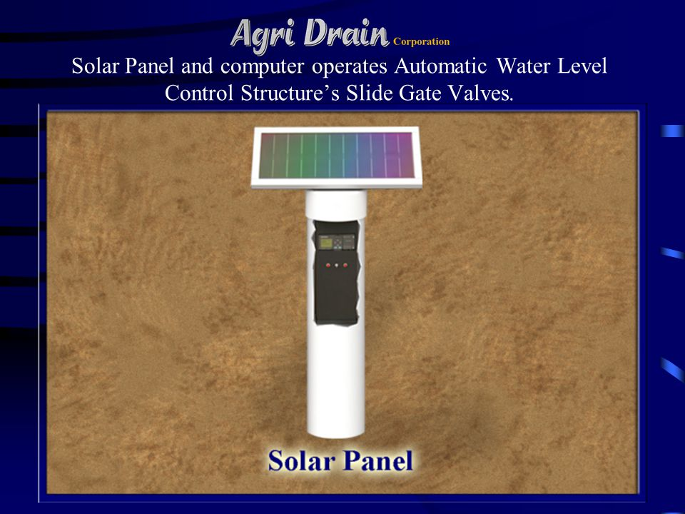 Solar Panel and computer operates Automatic Water Level Control Structure's Slide Gate Valves.