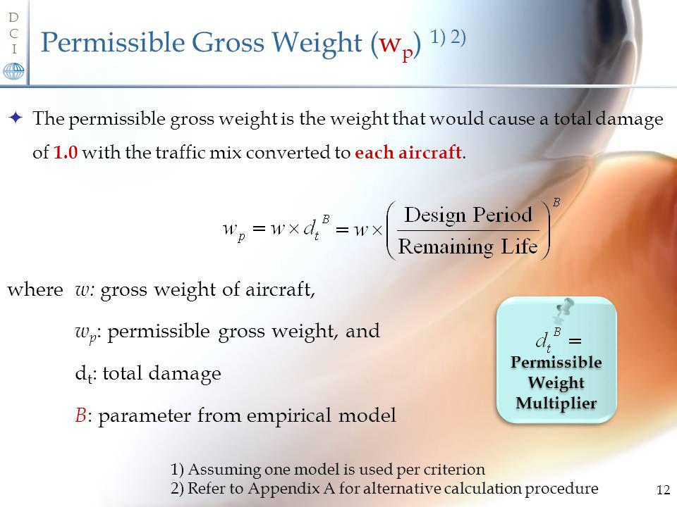Permissible Gross Weight (wp) 1) 2)