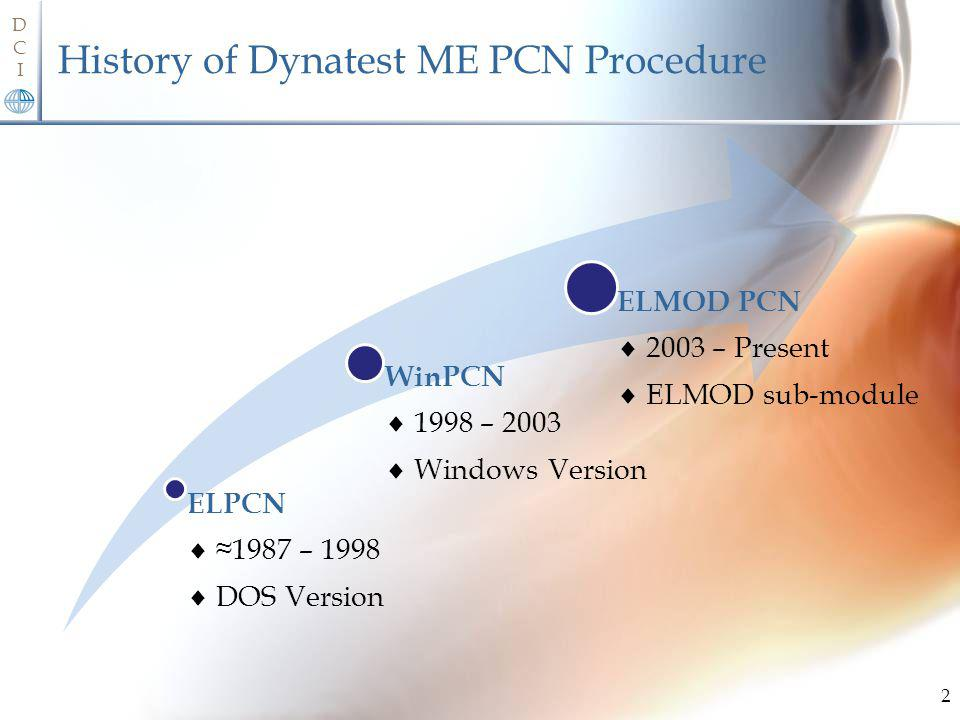 History of Dynatest ME PCN Procedure