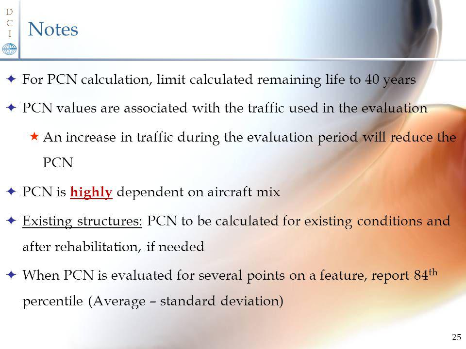 Notes For PCN calculation, limit calculated remaining life to 40 years