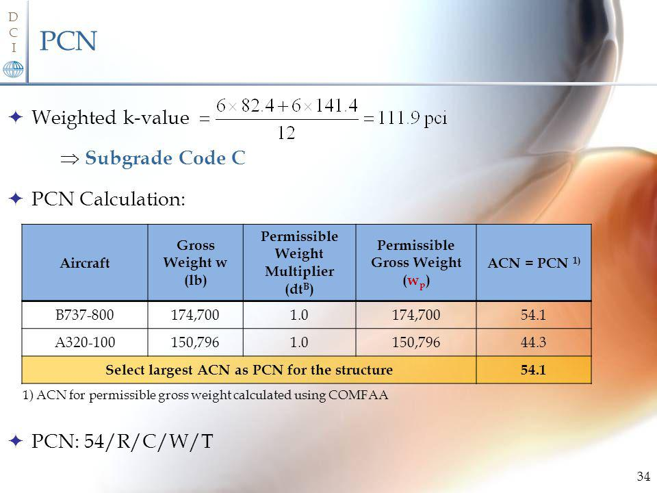 PCN Weighted k-value  Subgrade Code C PCN Calculation: