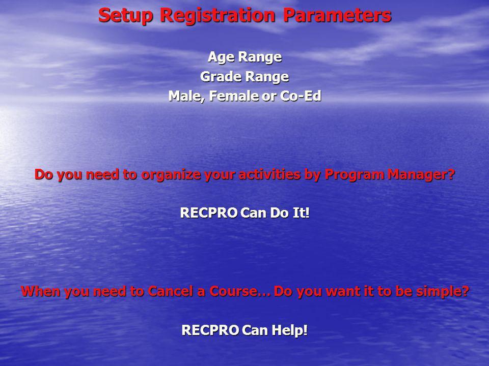 Setup Registration Parameters