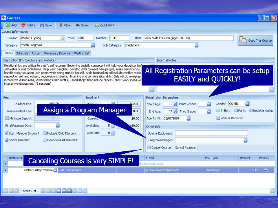 All Registration Parameters can be setup EASILY and QUICKLY!