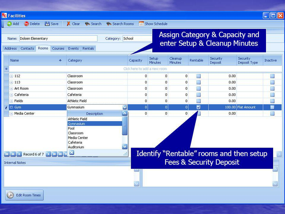 Assign Category & Capacity and enter Setup & Cleanup Minutes