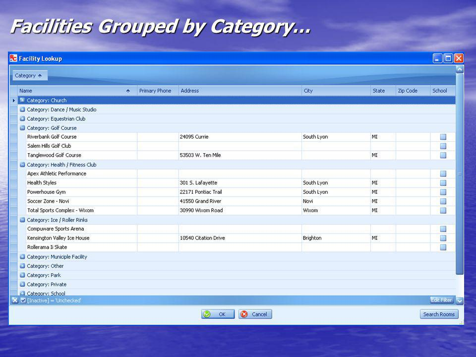 Facilities Grouped by Category…