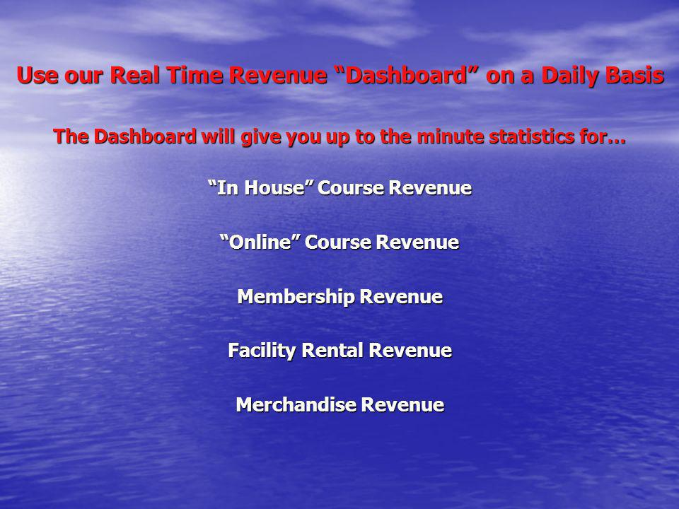 Use our Real Time Revenue Dashboard on a Daily Basis