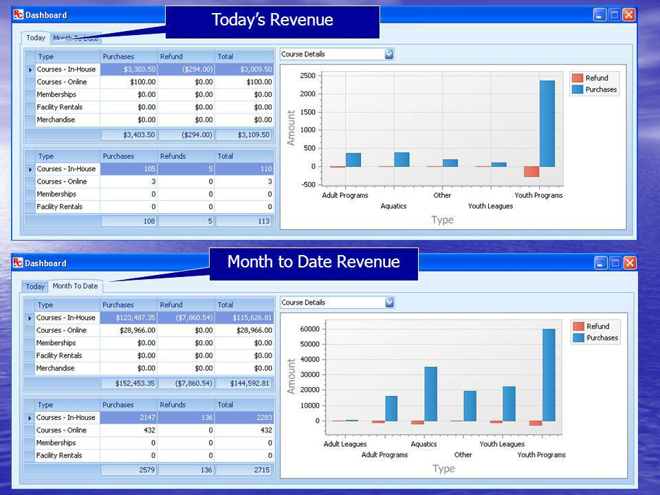 Today's Revenue Month to Date Revenue