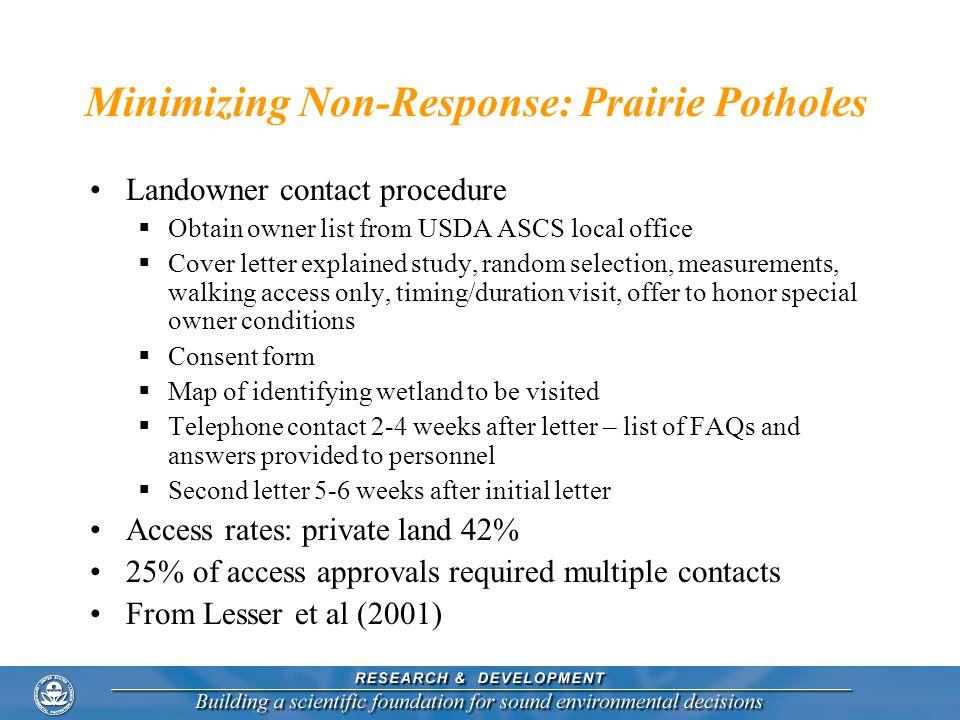 Minimizing Non-Response: Prairie Potholes