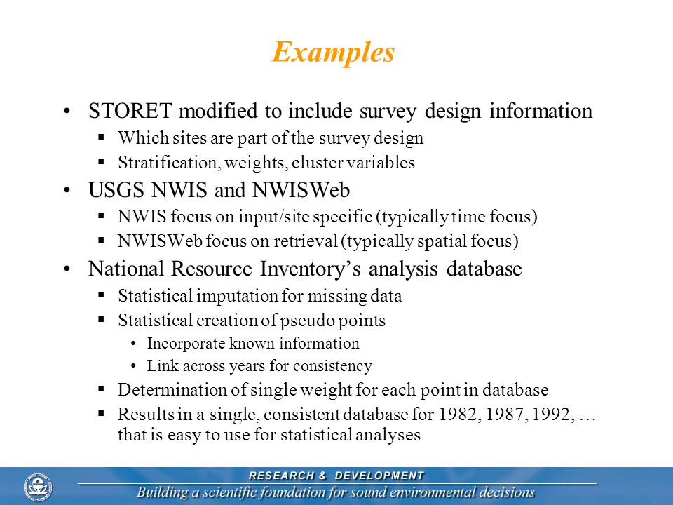 Examples STORET modified to include survey design information