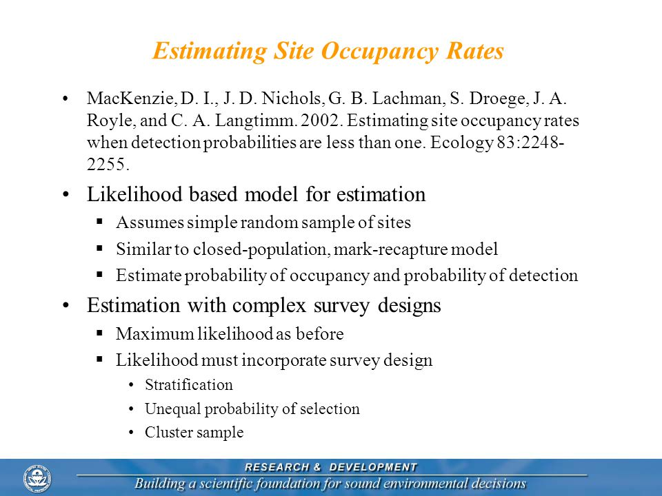 Estimating Site Occupancy Rates
