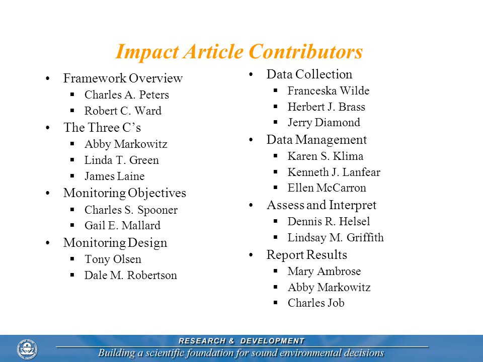 Impact Article Contributors