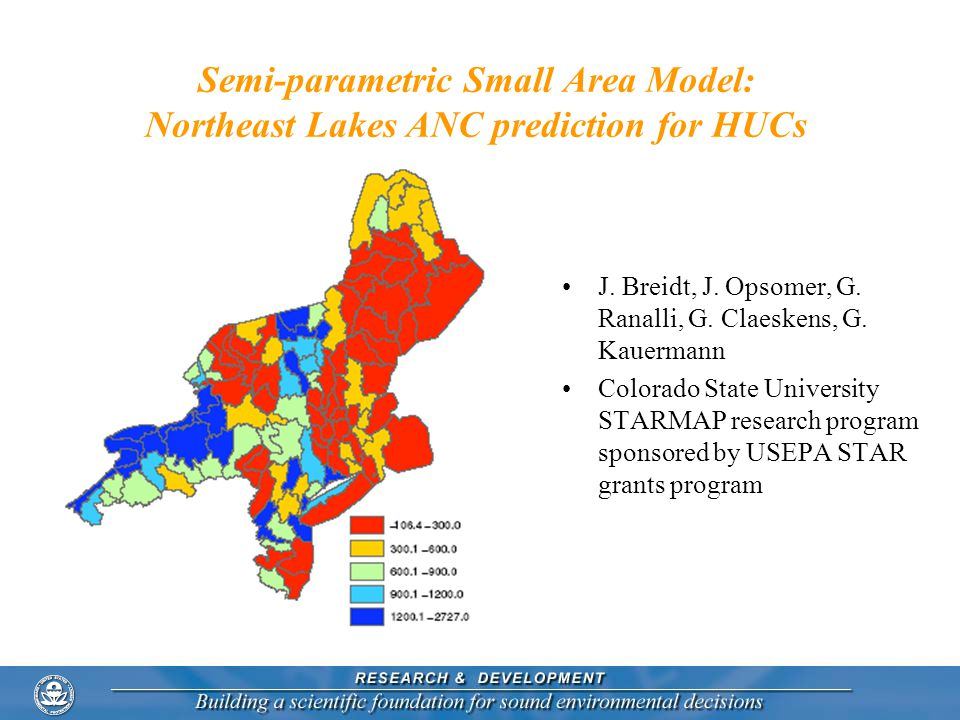 Semi-parametric Small Area Model: Northeast Lakes ANC prediction for HUCs