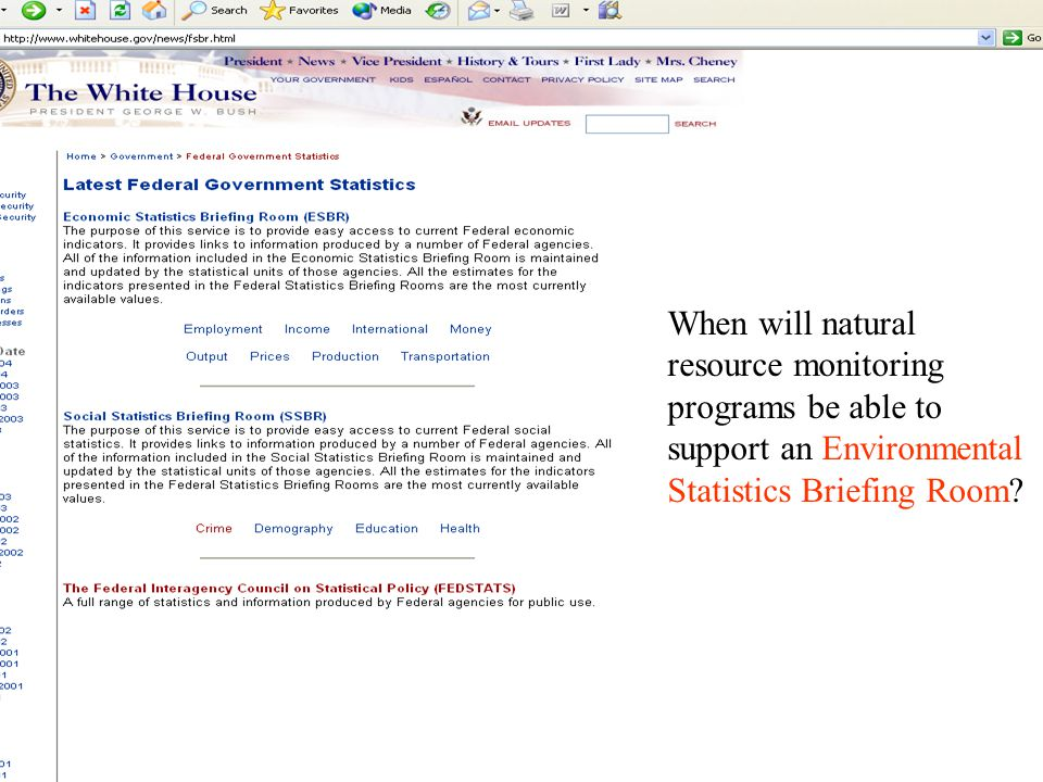 When will natural resource monitoring programs be able to support an Environmental Statistics Briefing Room