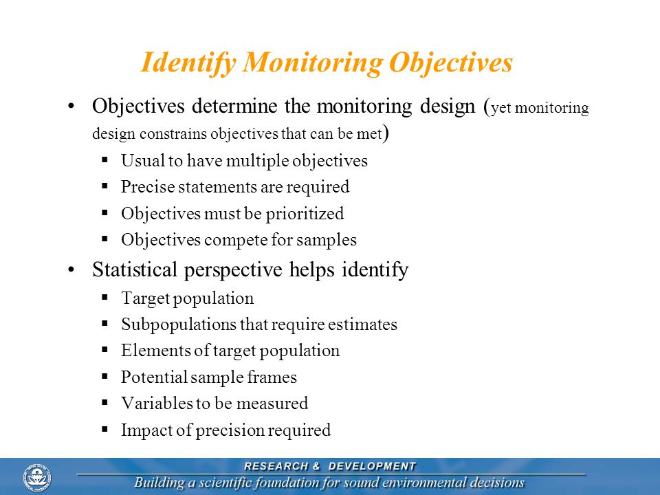 Identify Monitoring Objectives