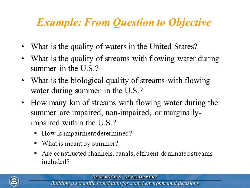 Example: From Question to Objective