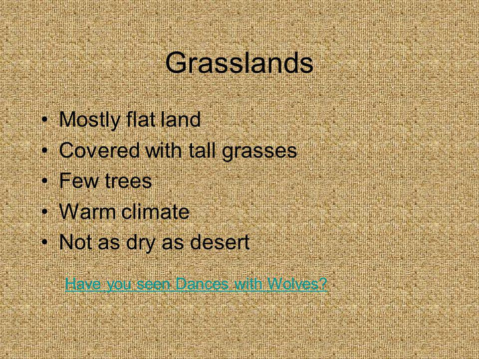 Grasslands Mostly flat land Covered with tall grasses Few trees