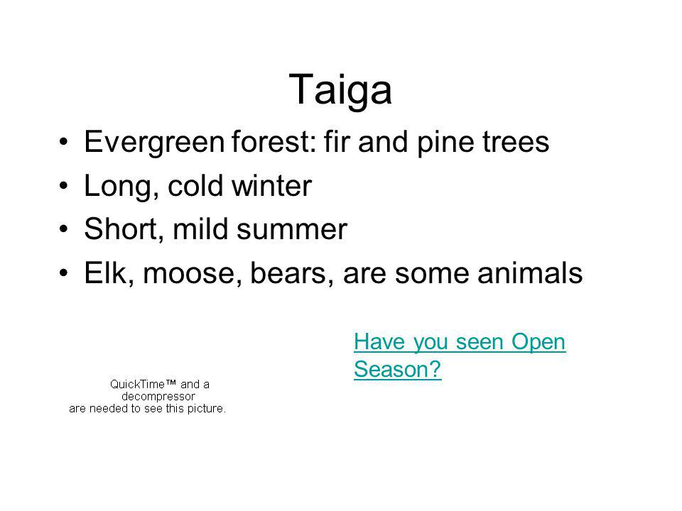 Taiga Evergreen forest: fir and pine trees Long, cold winter