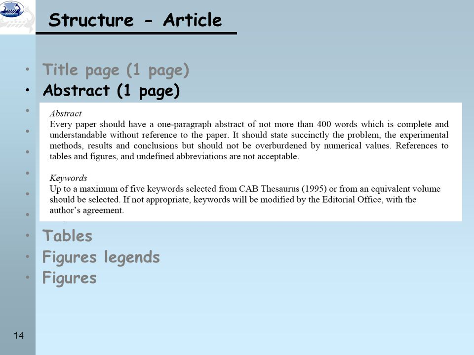 Structure - Article Title page (1 page) Abstract (1 page) Introduction