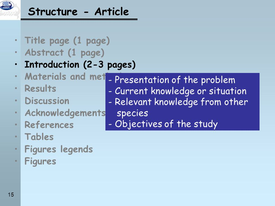 Structure - Article Title page (1 page) Abstract (1 page)